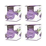 pajoma Duftkerze 4er Set, Lavendel, im satinierten Glas, 4x 124 g, Brenndauer: 25 Stunden, in edler Geschenkverpackung -