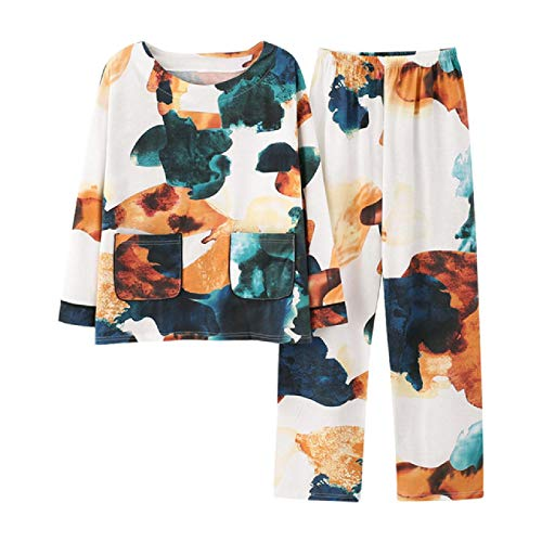 Pijamas de algodón de Manga Corta para Mujer, Conjunto de Pijamas para Mujer, Pantalones Cortos,Ropa de Dormir Bonita Simple Japonesa, Traje de hogar