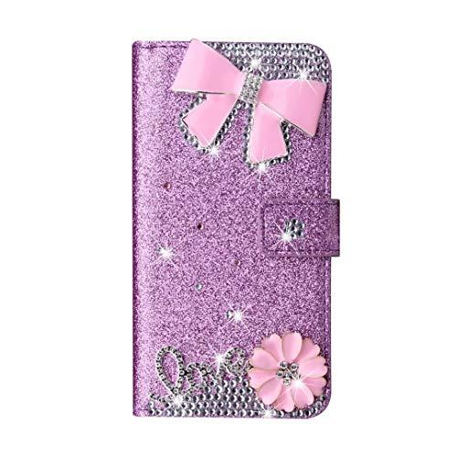 Schutzhülle für Huawei P30, Glitzer PU Leder Handgemachte Bling Sparkly Diamanten Schnalle Gems Rosa Schleife Wallet Handyhülle Schutzhülle mit Ständer Kartenfächer Magnet für Huawei P30 Lila