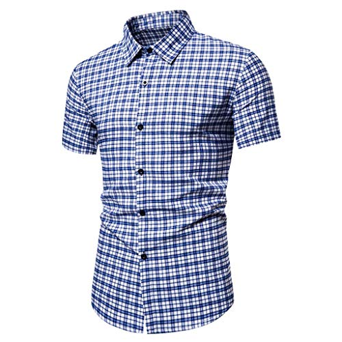 Review Of Doad Mens Fashion Plaid Printed Splicing Colorful Stripe Short Sleeve Loose Shirt