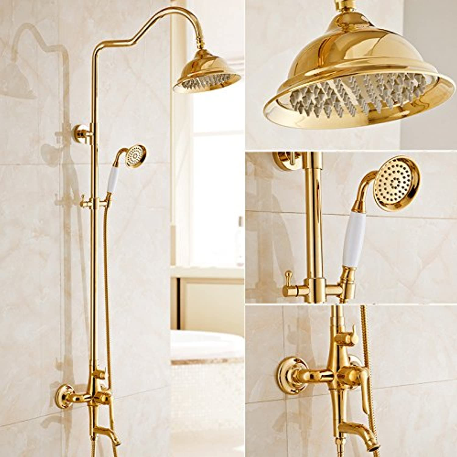 AiRobin-Continental Luxury gold Plated Brass Rain Shower System,C