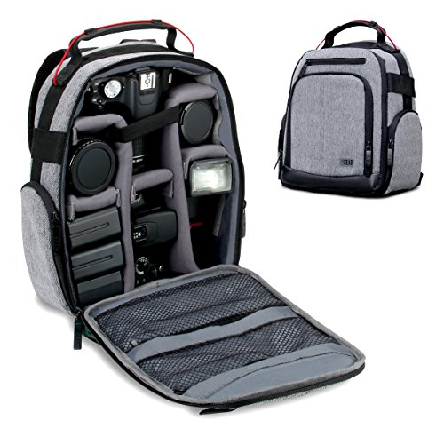 USA GEAR Portable Camera Backpack for DSLR (Gray) with Customizable Accessory Dividers, Weather Resistant Bottom and Comfortable Back Support - Compatible with Canon, Nikon and More