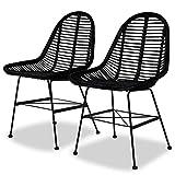 Zora Walter - Patas de Hierro Forjado para Comedor (2 Unidades) Juego de sillas de Mimbre Natural y Negro, para salón o Sala de conferencias