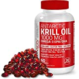 Bronson Antarctic Krill Oil 1000 mg with Omega-3s EPA, DHA, Astaxanthin and Phospholipids 60 Softgels (30 Servings)