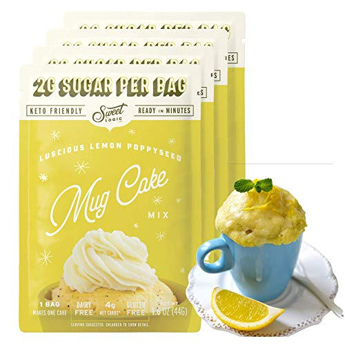 SWEET LOGIC Keto Dessert Mug Cake Mixes - Sugar Free Gluten Free Keto Snack - 4 Keto Mug Cake Mixes - Lemon Poppyseed - Diabetic Friendly Keto Sweets and Treats