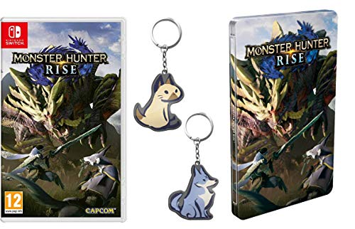 Monster Hunter Rise (Nintendo Switch) + Steelbook + Palamute Keyring + Palico Keyring