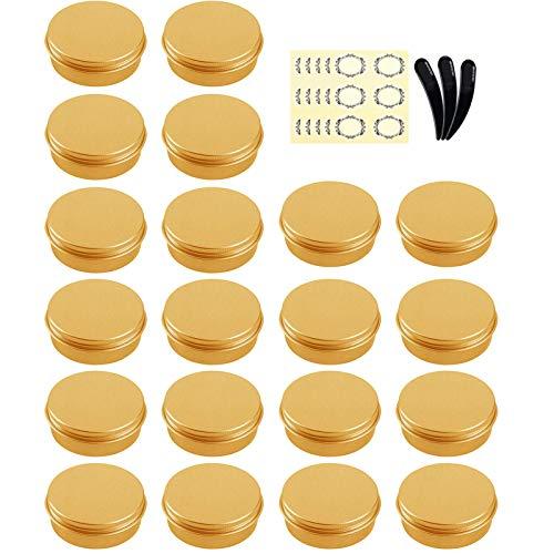 Alledomain - Juego de 24 recipientes de metal vacíos redondos de 10 ml con tapa de rosca para crema (dorado)