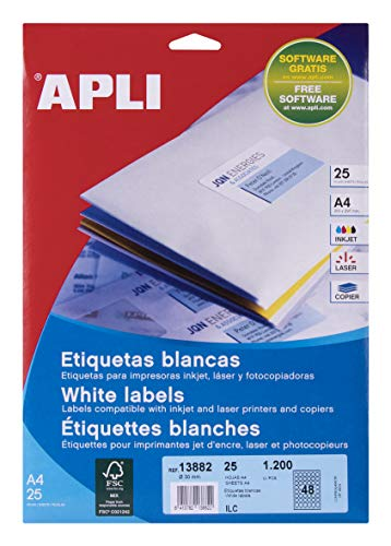 APLI 13882 - Etiquetas blancas permanentes Ø 30,0 mm 25 hojas