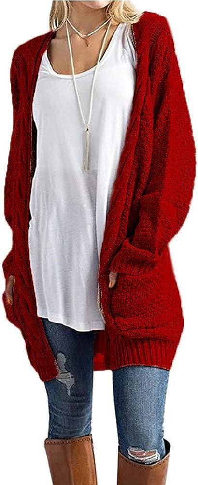 HZSONNE Women's Boho Long Sleeve Open Front Chunky Warm Cardigans Pointelle Pullover Sweater Blouses