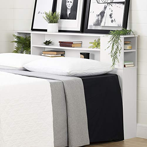South Shore Bookcase Headboard is a good nightstand alternative when there's no room for nightstands