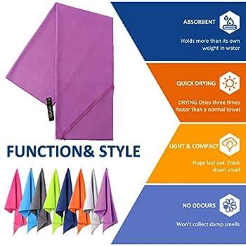 Amazon Brand - Eono Serviette en Microfibre, Microfiber Towel, Séchage Rapide, Ultra-absorbante & Compact. Parfaite pour Le Sport, Les Voyages, la Plage, Le Camping, randonnées - Violet, 140x70cm