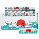 Custom Keycaps and Gaming Mouse Pad Set, Upgrade OEM Profile Keycaps Keyset Dye Sublimation Keycap Set & Large Mouse Pad, Desk Mat, Keyboard Pad(27.6''x11.8'') Kit for Windows PC Gamer (Coral Sea)