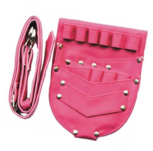Scherentasche/Friseurtasche/Werkzeugtasche mit Platz für 4 Scheren in Pink, mit Nieten besetzt