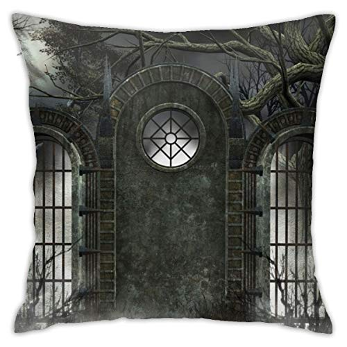 Yaateeh Horror House Moon Ancient Gate Gothic Throw Pillow Covers Decorative 18x18 Inch Pillowcase Square Cushion Cases for Home Sofa Bedroom Livingroom