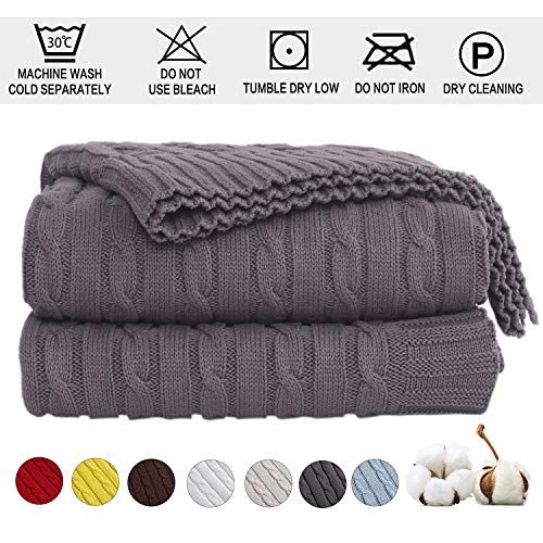Shaddock Baumwolle Gestrickte Decke 4 Jahreszeiten Bettdecke -130x180cm Ultra Weiche überwurf Decke Wohn-Kuscheldecke für Baby Couch Bett Sofa Stuhl Auto Büro (Grau, Muster verdrehen)