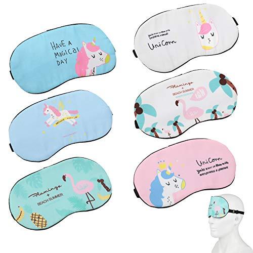 MWOOT Schlafmaske für Einhorn-Übernachtungsparty [6er Set], Einhorn Maske als Geschenk für Einhorn-Geburtstagsfeier, Einhorn Augenmaske zum Schlafen