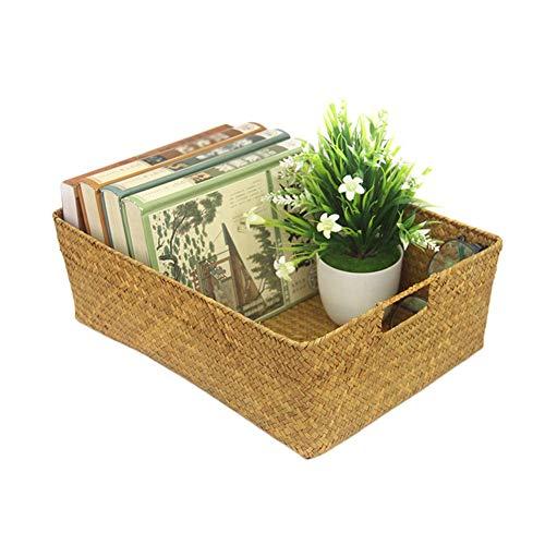 Quitd Cestas de tejido hecho a mano, cesta de almacenamiento rectangular decorativa con asas de inserción, cesta de regalo para baño, sala de estar, cocina o salón