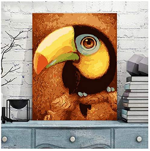 MBYWQ Verf Door Aantal Diy Olie Schilderen Kind Student Volwassen Acryl Pigment En Borstel Grote snavel Vogel(Zonder Framed)