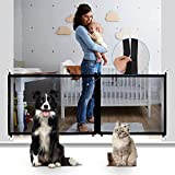 CHARMINER Magic Pet Gate for Dogs, Mesh Dog Gate with Latest Zipper Design Extra Wide Portable Adjustable Folding Mesh Dog Gate for Doorways-Safety Fence for Stair (Black)