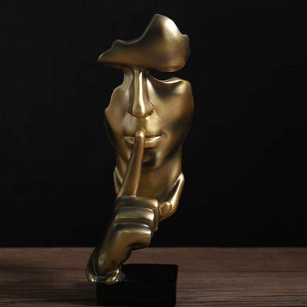 Lcrakon, scultura moderna il silenzio è d`oro, in resina, misure 28,5x11x10 cm