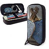 Étui à crayons en cuir PU, sac de maquillage cosmétique pour raquettes de tennis de table, pochette à crayons pour organisateur de papeterie