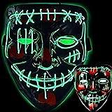 Halloween Led Light Up Death Mask, Led Purge Mask, Bleach Smile Face Led Scary Mask Venom Scary EL Wire Light up Mask Led Costume, Black, Adult Men Women Teens Mask(Green Light)