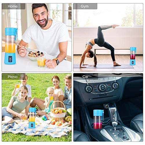 Portable Blender USB Rechargeable, Personal Blender Single Serve Blender, Small Blender Shakes Travel Blender Cup 380ml (FDA and BPA free) (Blue)