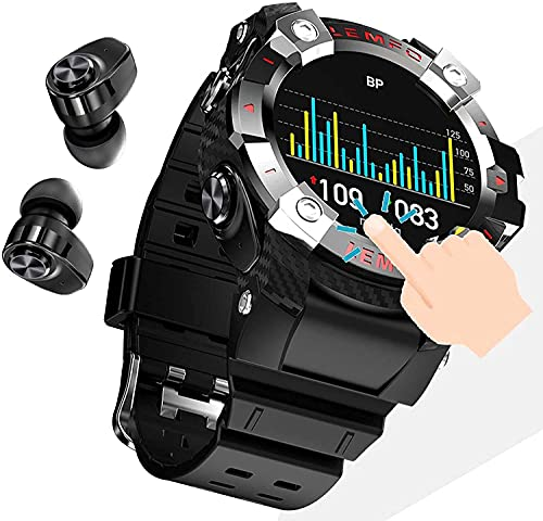 CXWAWSZ 2 in 1 Smart Watch with Earbuds Call, Fitness Tracker with Blood Oxygen Heart Rate Sleep Monitor, 1.29 Inch Touch HD Screen Activity Tracker for iPhone Samsung Android Phones