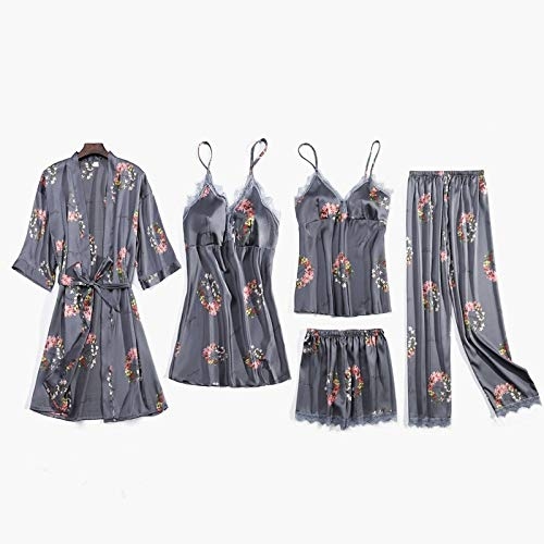 Dames Pyjama,5-Delige Set Soft Satin Pyjama Sets Zijde Voor DamesHomewear Loungewear Nachtkleding Sexy Kanten Lingerie Nachtkleding