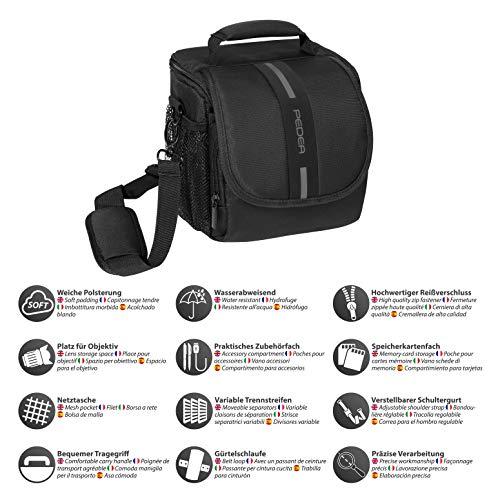 PEDEA DSLR-Kameratasche Essex Fototasche für Spiegelreflexkameras mit wasserdichtem Regenschutz, Tragegurt und Zubehörfächern, Gr. M schwarz/grau