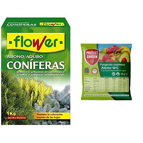 Flower 10518 10518-Abono Coníferas Y Arbustos, 1 Kg, No Aplica, 7X18X25.5 Cm + Fungicida Sistémico Aliette Wg, Ideal Para...