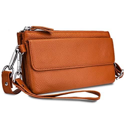 YALUXE Handtasche Damen Echtleder Smartphone Wristlet Crossbody Kupplungtasche mit RFID-Kartenschlitzen Orange