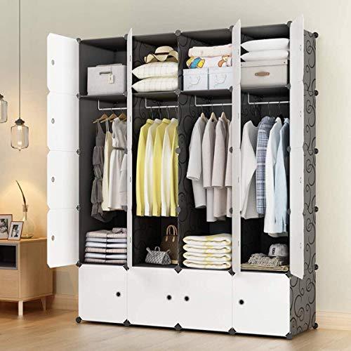 KOUSI Portable Wardrobe Closets 14x18 Depth Cube Storage Bedroom Armoire Storage Organizer with Doors 20 Cubes Black