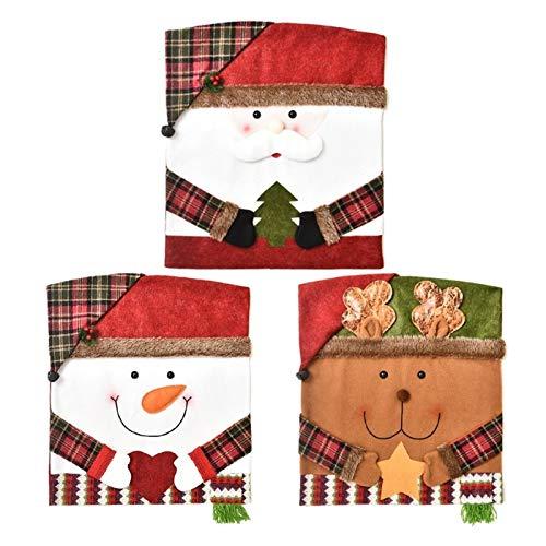 Lebeaut Silla de 3 Piezas Cubierta de la Silla de Navidad Creativo casero Cubierta decoración for el Banquete de la Boda Comedor Decoración De Restaurante Desmontable Y Lavable
