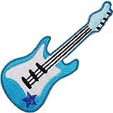 Parche bordado de guitarra eléctrica azul para planchar o coser