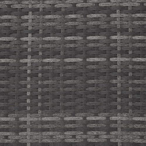TecTake 800693 Poly Rattan Lounge Set, 2 Sitzer Sofa mit Hocker, Ottomane, inkl. Dicke Auflagen – Diverse Farben (Grau | Nr. 403125) - 9