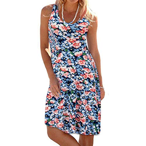 TIFIY Sommerkleid Damen,Elegante Ärmelloser O-Hals Maxi Tank Dress drucken Lässiges Blumenmuster Strand Partykleider(Blau,M