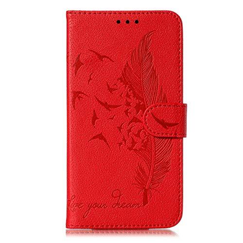 TOPOFU Hülle für Huawei P Smart 2021 Handyhülle, PU/TPU Leder Wallet Tasche Cover, Retro Feder Muster Design, [Ultra Slim][Card Slot][Ständer] Flip Wallet Case Schutzhülle (Rot)