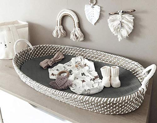 Massiver Baby Wickelkorb mit drei Schichten Matratze Babykorb Baby Moseskorb Handgemachter Seegras Weidenkorb Baby Shower