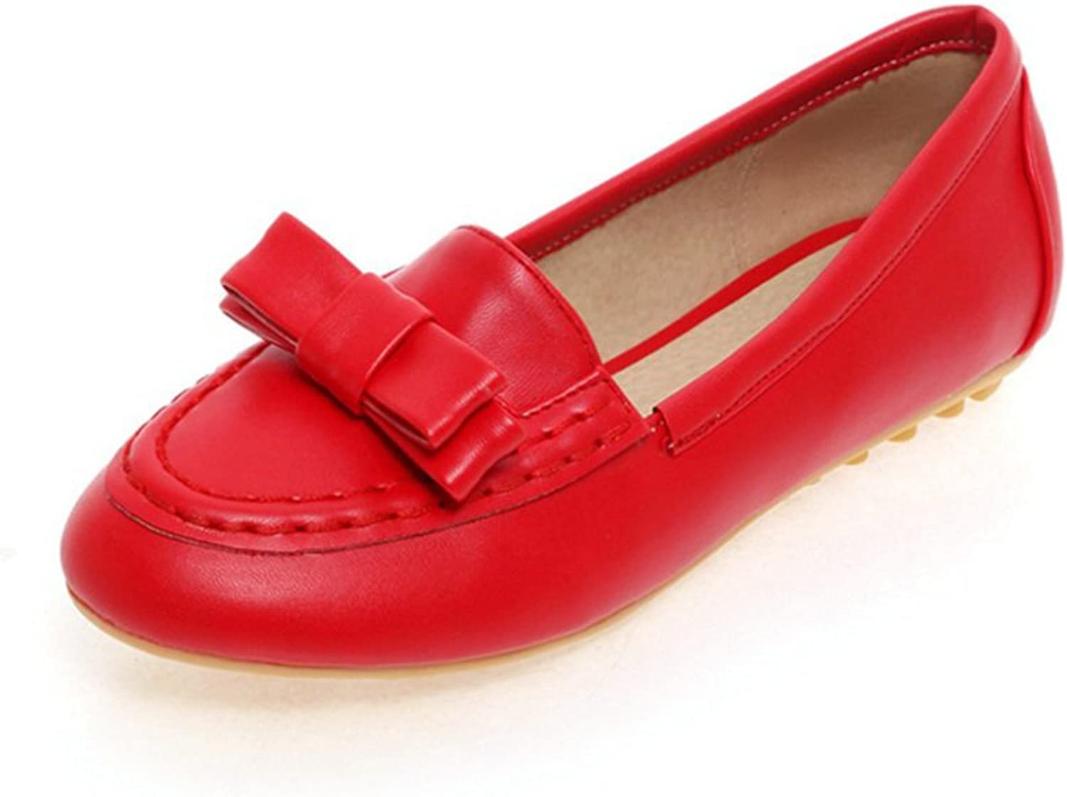 RHFDVGDS Round head light in spring and summer bow flat flat shoes to work Doug fashion leisure shoes