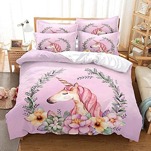 Bettwäsche 135X200 Rosa Lila Einhorn Bettbezug Set 3D,Bettbezüge Mikrofaser Bettbezug mit Reißverschluss und 2 Kissenbezug 80X80cm ,Bettbezug Jugendliche ,Bettwäsche-Sets Modern