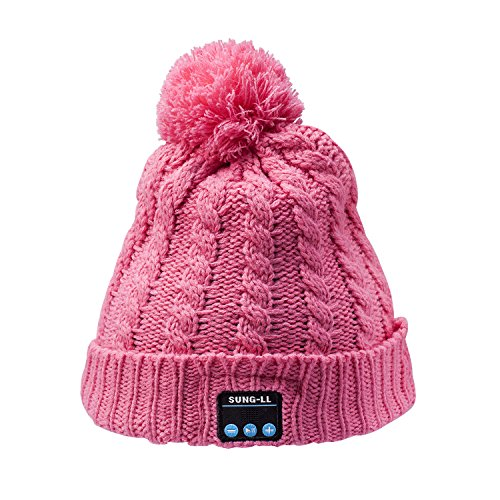 Sung-ll Soft and Warm Cap Wireless Beanie with Smart Speaker Micro Headphone (Pink)