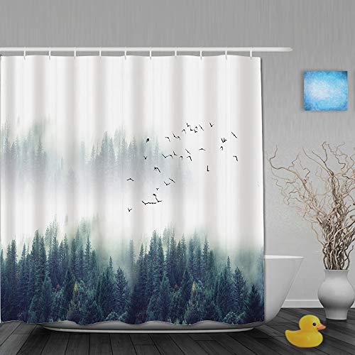 AIKIBELL Personalisierter Duschvorhang,Nebelwald Natur Berg Wälder Landschaft Bedeckung mit viel Nebel,wasserabweisender Badvorhang für das Badezimmer 180 x 210 cm