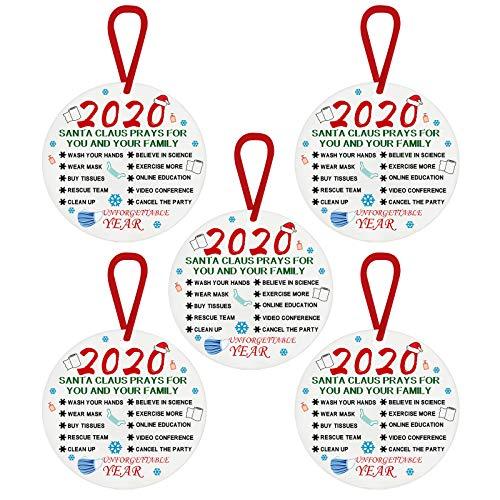YOUMETA 2020 Adornos navideños inastillables Adornos navideños Blancos Regalos 2020 | Regalos de decoración del árbol de Navidad: para Familiares, Amigos, Miembros de la Iglesia