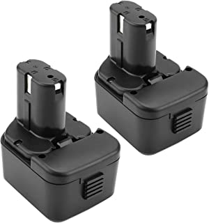 Exmate 2pcs 12Volt 3.5Ah Replacement Battery for Hitachi EB1214S EB1212S EB1214L EB1220BL EB1220HL EB1230R EB1230X EB1233X EB1220HS EB1220RS EB1222HL EB1226HL EB1230HL 324360, Ni-MH Batteries