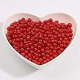 3/4/6/8 / 10mm Sin orificio Multicolores Cuentas de perlas de imitación ABS Cuentas sueltas para arte de uñas DIY Craft Scrapbook Decoration, rojo, 4 mm 500 piezas