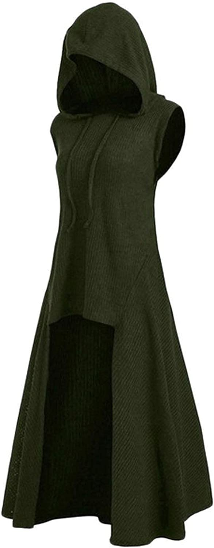 Women Cape Cloak Asymmetric Hem Sweater Vest Hooded Drawstring Vintage Tunic Tops High Low Tunic Blouse
