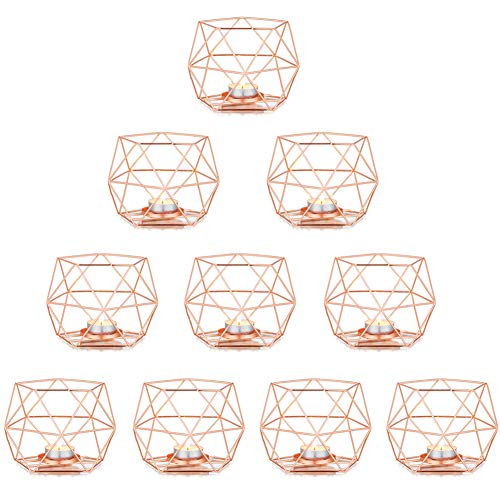 Nuptio Pillar Candle Holders for Tables, Rose Gold Tea Light Holders Candle Holder Centrepiece for Tealight and Pillar Candle, Perfect for Birthday Party Wedding Events Home Decoration, 10 Pcs