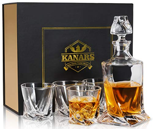 KANARS Whiskey Decanter Set in Unique Elegant Gift Box, Lead Free Crystal Liquor Decanter with 4 Glass for Bourbon, Scotch or Irish Whisky, 5-Piece