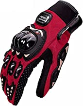 Triangle Motorcycle Motorbike Bicycle Powersports Racing Full Finger Gloves (Large, Red)